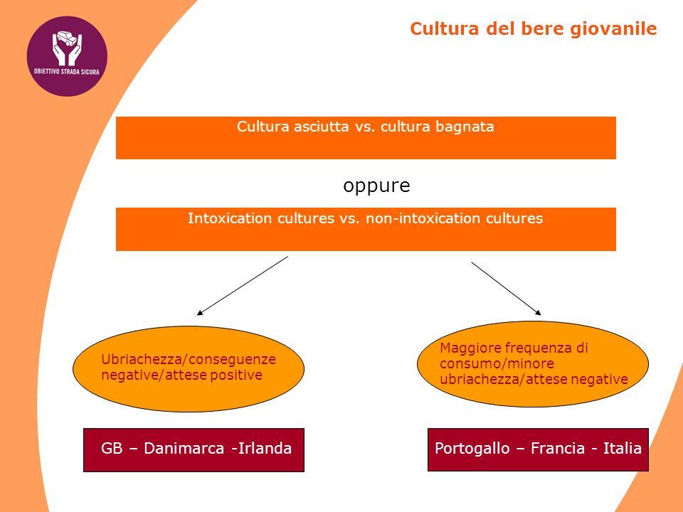 Cultura asciutta vs.cultura bagnata Cultura del bere giovanile Intoxication cultures vs.