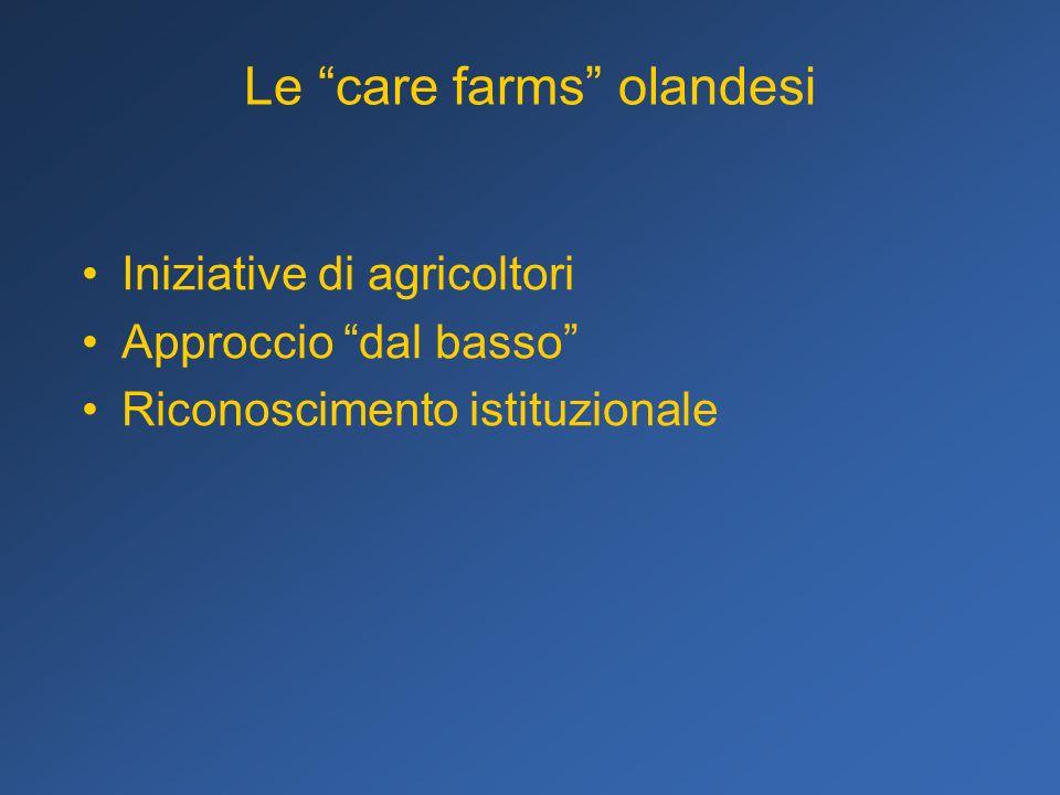 Le care farms olandesi Iniziative di agricoltori Approccio dal basso Riconoscimento istituzionale