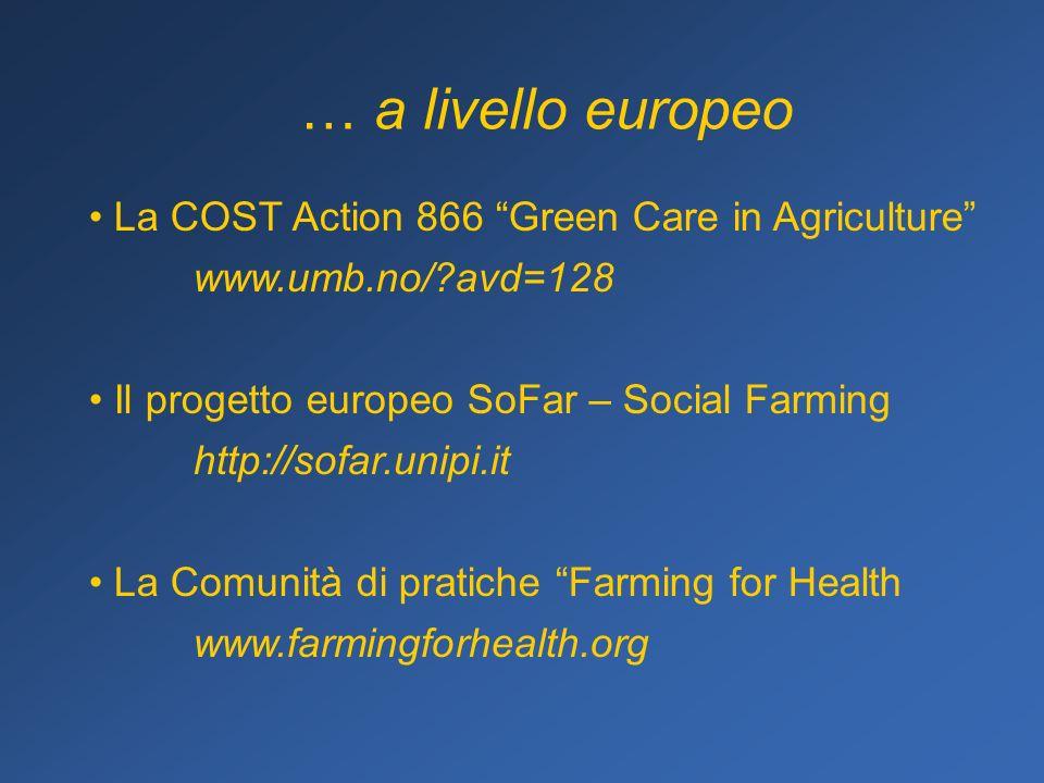 La COST Action 866 Green Care in Agriculture www.umb.no/ avd=128 Il progetto europeo SoFar – Social Farming http://sofar.unipi.it La Comunità di pratiche Farming for Health www.farmingforhealth.org … a livello europeo