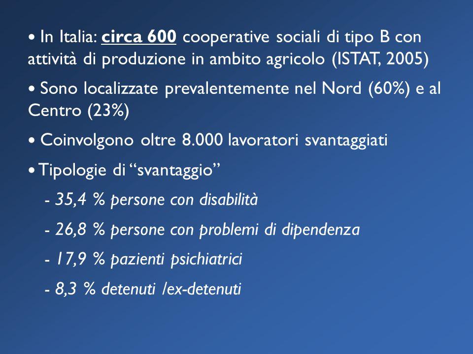 In Italia: circa 600 cooperative sociali di tipo B con attività di produzione in ambito agricolo (ISTAT, 2005) Sono localizzate prevalentemente nel Nord (60%) e al Centro (23%) Coinvolgono oltre 8.000 lavoratori svantaggiati Tipologie di svantaggio - 35,4 % persone con disabilità - 26,8 % persone con problemi di dipendenza - 17,9 % pazienti psichiatrici - 8,3 % detenuti /ex-detenuti