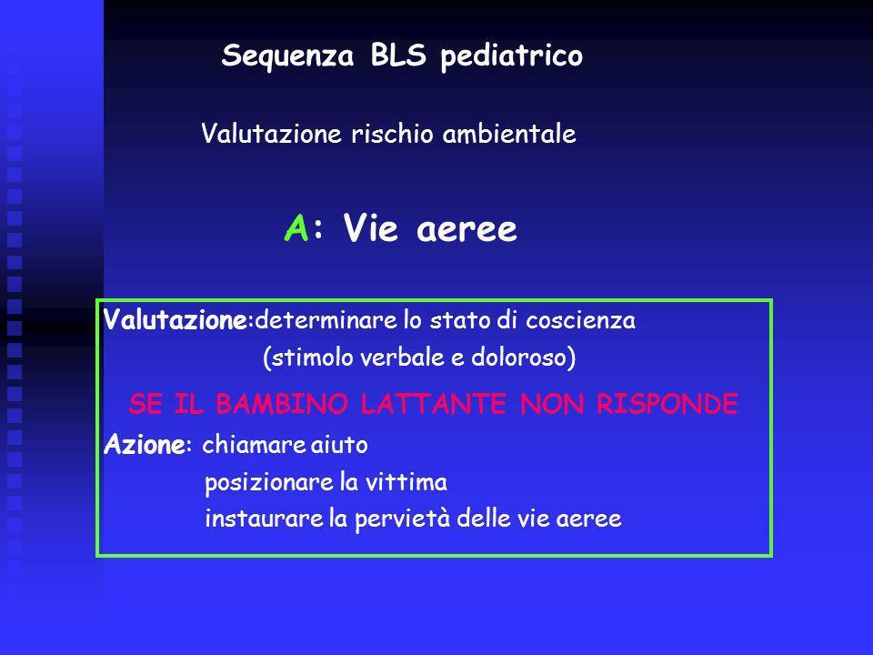 Sequenza BLS pediatrico B - Respirazione Valutazione: determinare lassenza di respiro (GAS per 10) Se il bambino/lattante non respira Azione : 5 ventilazioni di soccorso (lente e progressive)