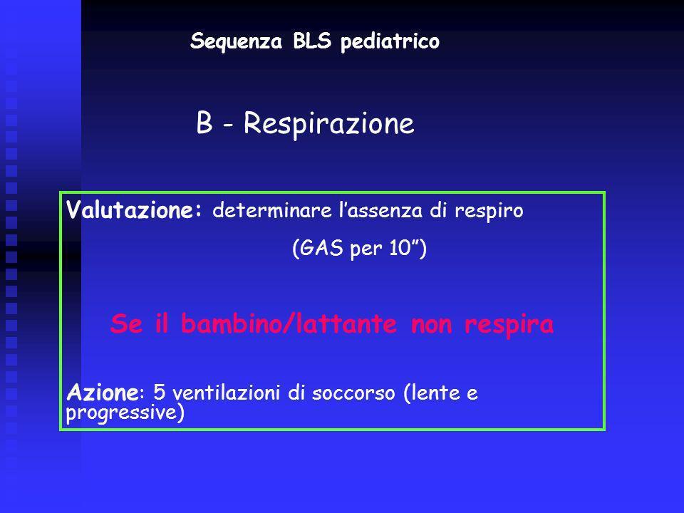 Sequenza BLS pediatrico Valutazione: rilevazione segni di circolo - 10) Se il bambino/lattante non ha segni di circolo Azione : iniziare CTE (ratio 30:2) C: Circolazione 1 di RCP (3 cicli) RIVALUTARE (CHIAMARE AIUTO)