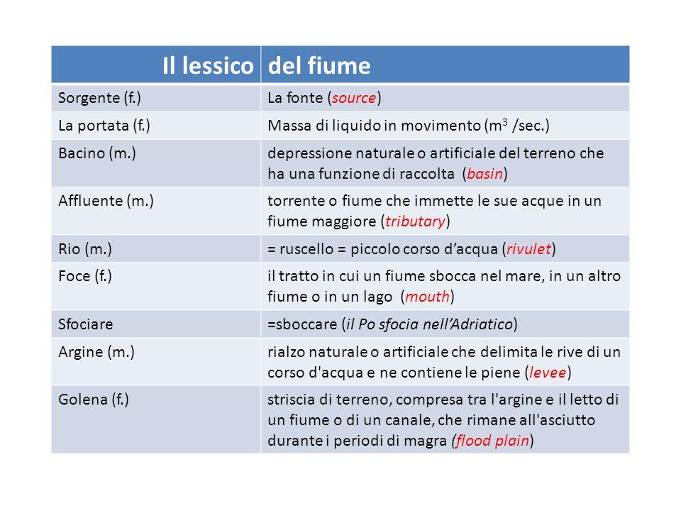 Il lessicodel fiume Sorgente (f.)La fonte (source) La portata (f.)Massa di liquido in movimento (m 3 /sec.) Bacino (m.)depressione naturale o artifici