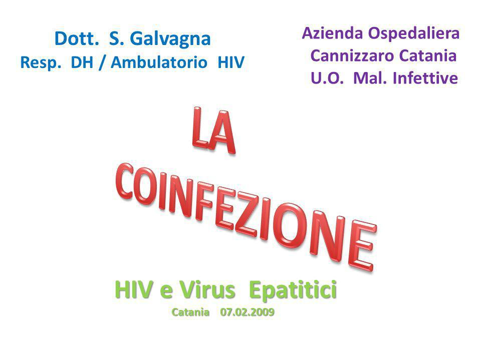 HIV e Virus Epatitici Catania 07.02.2009 Catania 07.02.2009 Dott. S. Galvagna Resp. DH / Ambulatorio HIV Azienda Ospedaliera Cannizzaro Catania U.O. M