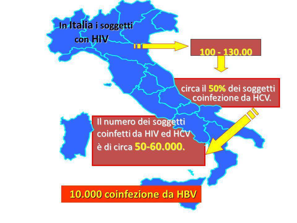 In Italia i soggetti In Italia i soggetti con HIV con HIV 100 - 130.00 100 - 130.00 circa il 50% dei soggetti coinfezione da HCV. circa il 50% dei sog