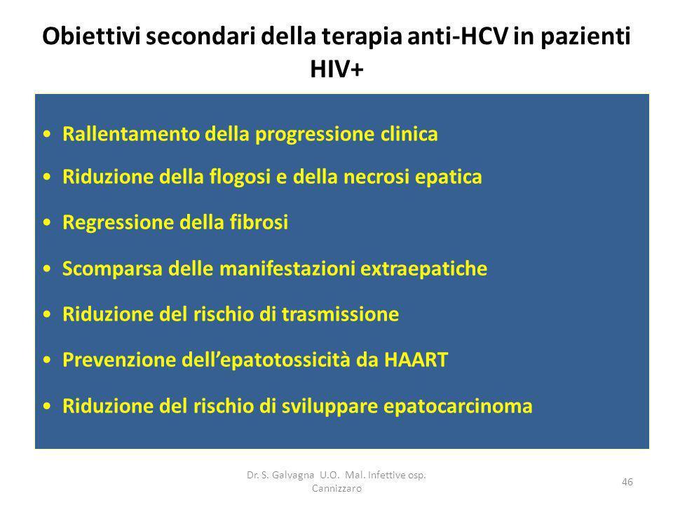 Dr. S. Galvagna U.O. Mal. Infettive osp. Cannizzaro 46 Obiettivi secondari della terapia anti-HCV in pazienti HIV+ Rallentamento della progressione cl