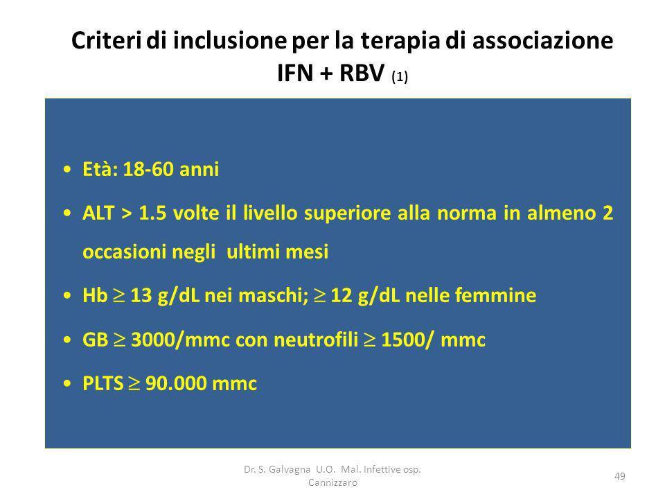 Dr. S. Galvagna U.O. Mal. Infettive osp. Cannizzaro 49 Criteri di inclusione per la terapia di associazione IFN + RBV (1) Età: 18-60 anni ALT > 1.5 vo