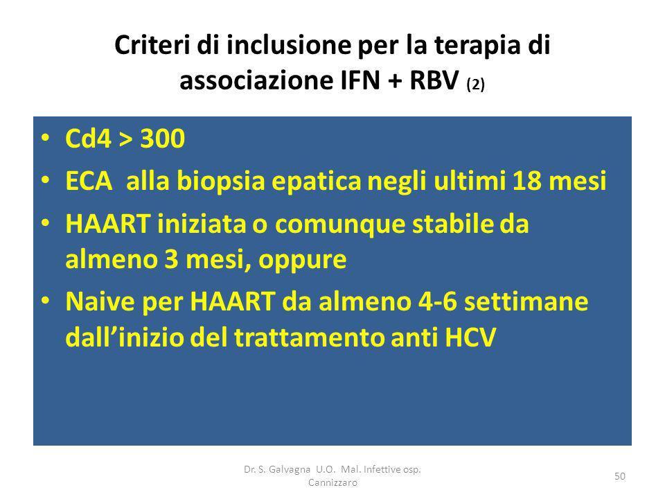 Dr. S. Galvagna U.O. Mal. Infettive osp. Cannizzaro 50 Criteri di inclusione per la terapia di associazione IFN + RBV (2) Cd4 > 300 ECA alla biopsia e