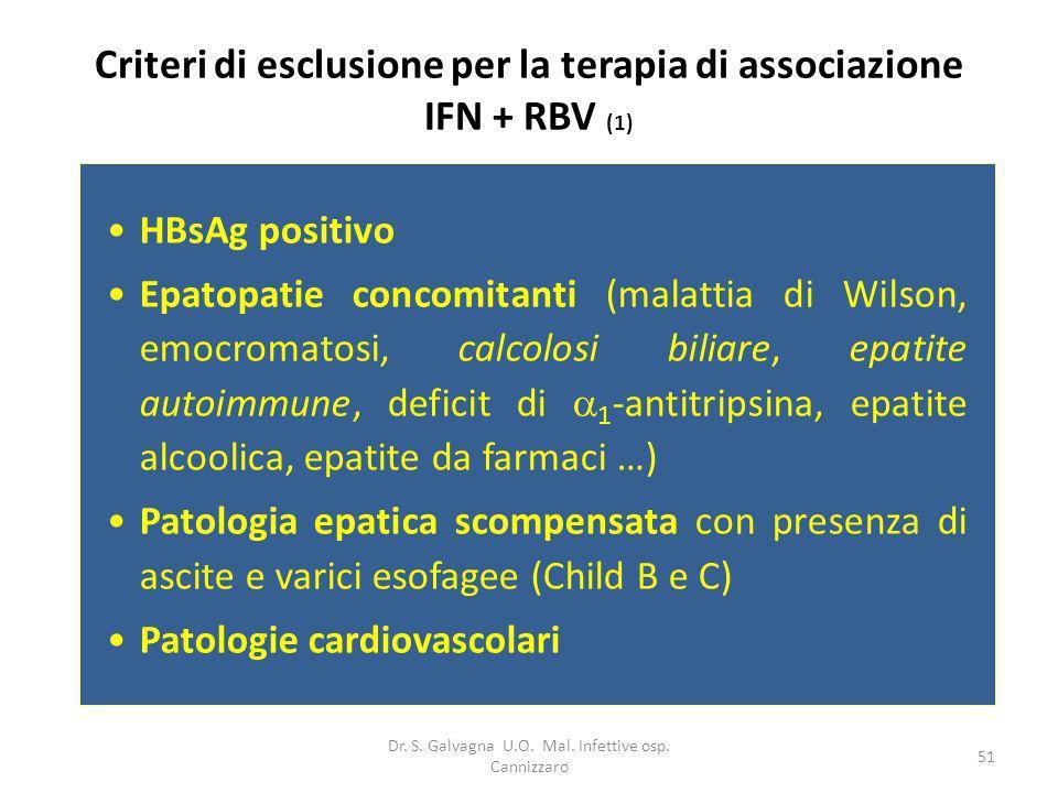 Dr. S. Galvagna U.O. Mal. Infettive osp. Cannizzaro 51 Criteri di esclusione per la terapia di associazione IFN + RBV (1) HBsAg positivo Epatopatie co