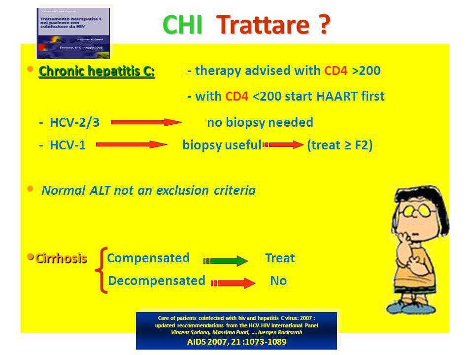 CHI Trattare ? CHI Trattare ? Chronic hepatitis C: Chronic hepatitis C: - therapy advised with CD4 >200 - with CD4 <200 start HAART first - HCV-2/3 no