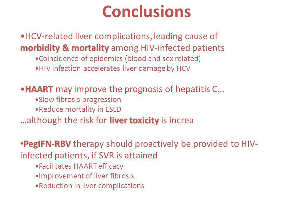 Conclusions HCV-related liver complications, leading cause of morbidity & mortality morbidity & mortality among HIV-infected patients Coincidence of e
