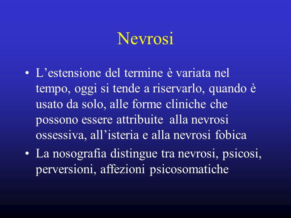 Nevrosi Lestensione del termine è variata nel tempo, oggi si tende a riservarlo, quando è usato da solo, alle forme cliniche che possono essere attrib