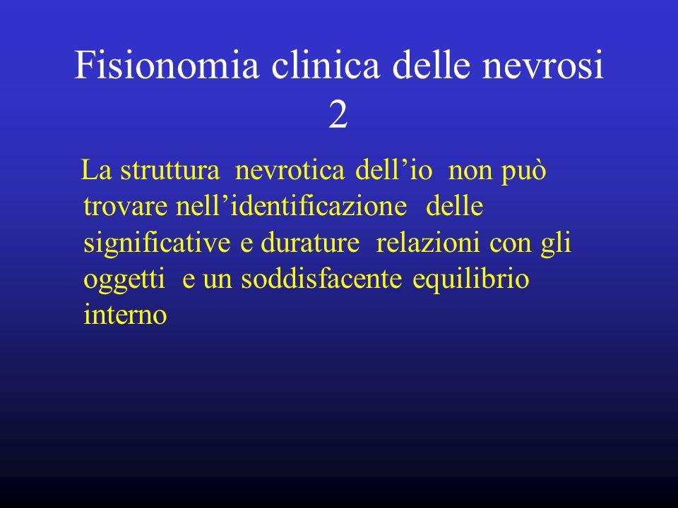 Fisionomia clinica delle nevrosi 2 La struttura nevrotica dellio non può trovare nellidentificazione delle significative e durature relazioni con gli