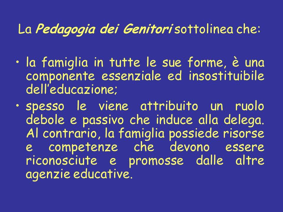 La Pedagogia dei Genitori sottolinea che: la famiglia in tutte le sue forme, è una componente essenziale ed insostituibile delleducazione; spesso le v