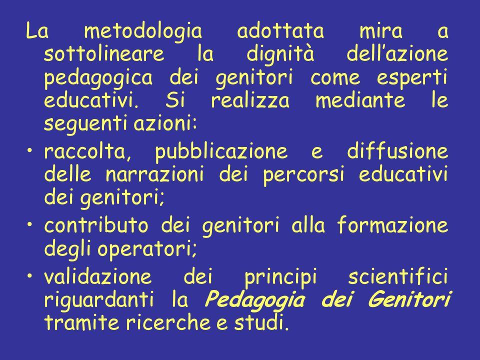 La metodologia adottata mira a sottolineare la dignità dellazione pedagogica dei genitori come esperti educativi. Si realizza mediante le seguenti azi