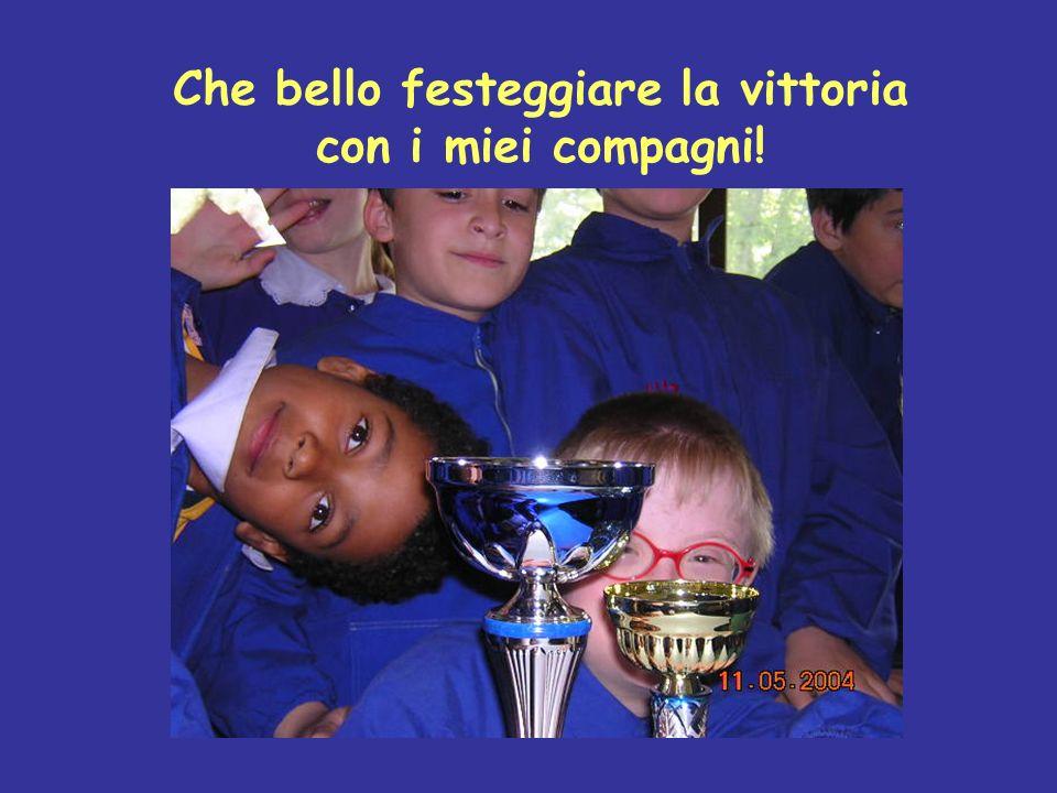 Che bello festeggiare la vittoria con i miei compagni!