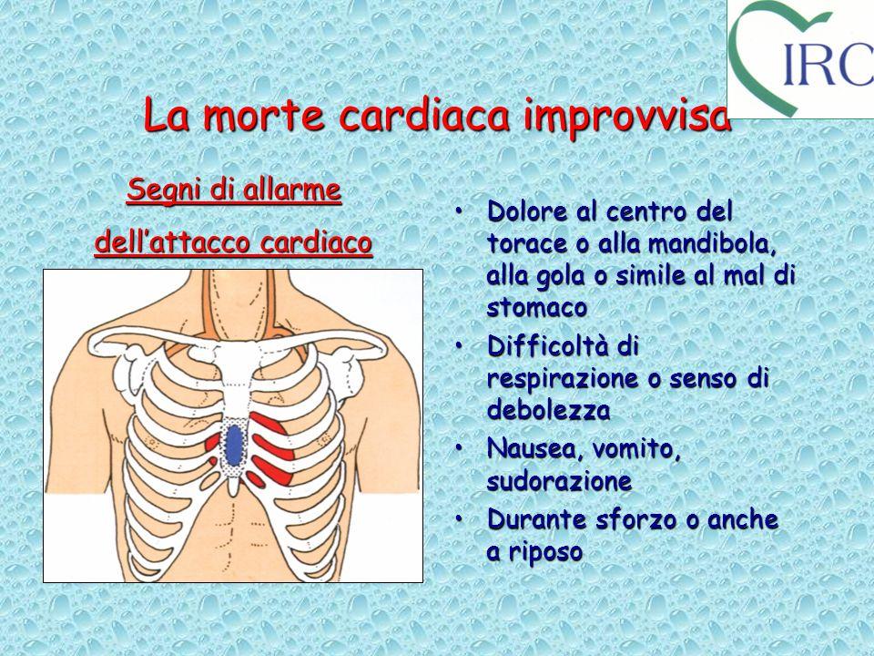 La morte cardiaca improvvisa Dolore al centro del torace o alla mandibola, alla gola o simile al mal di stomacoDolore al centro del torace o alla mand