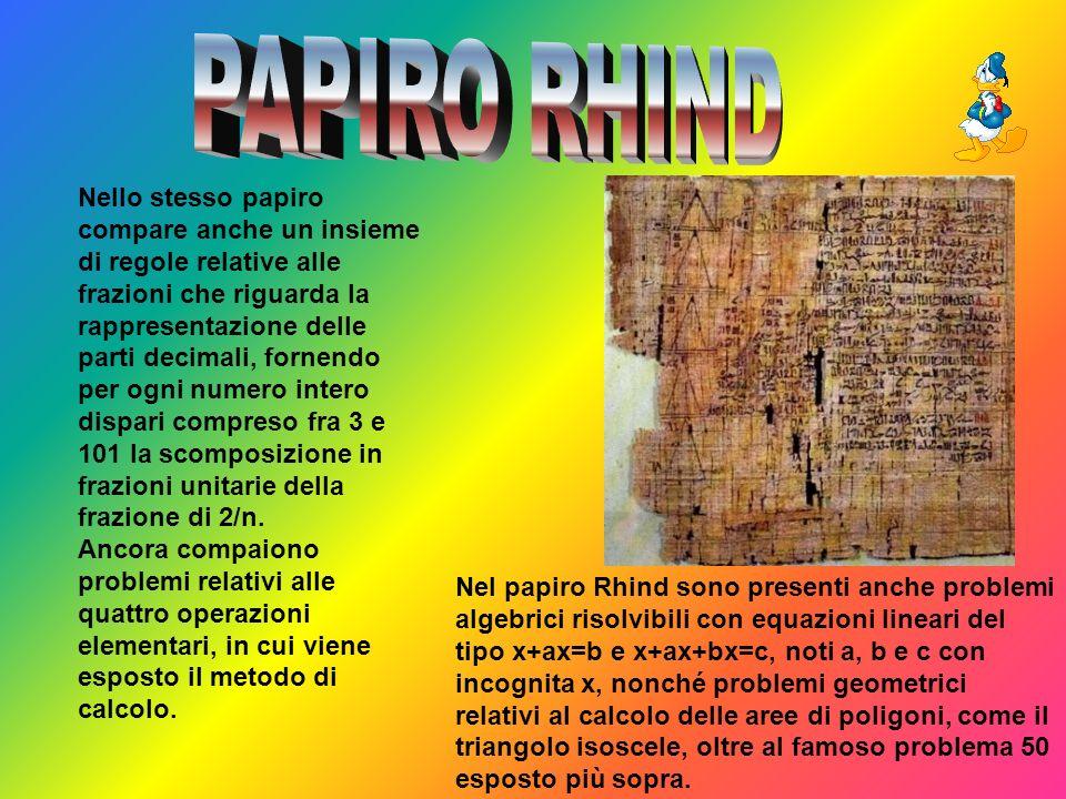 Nello stesso papiro compare anche un insieme di regole relative alle frazioni che riguarda la rappresentazione delle parti decimali, fornendo per ogni