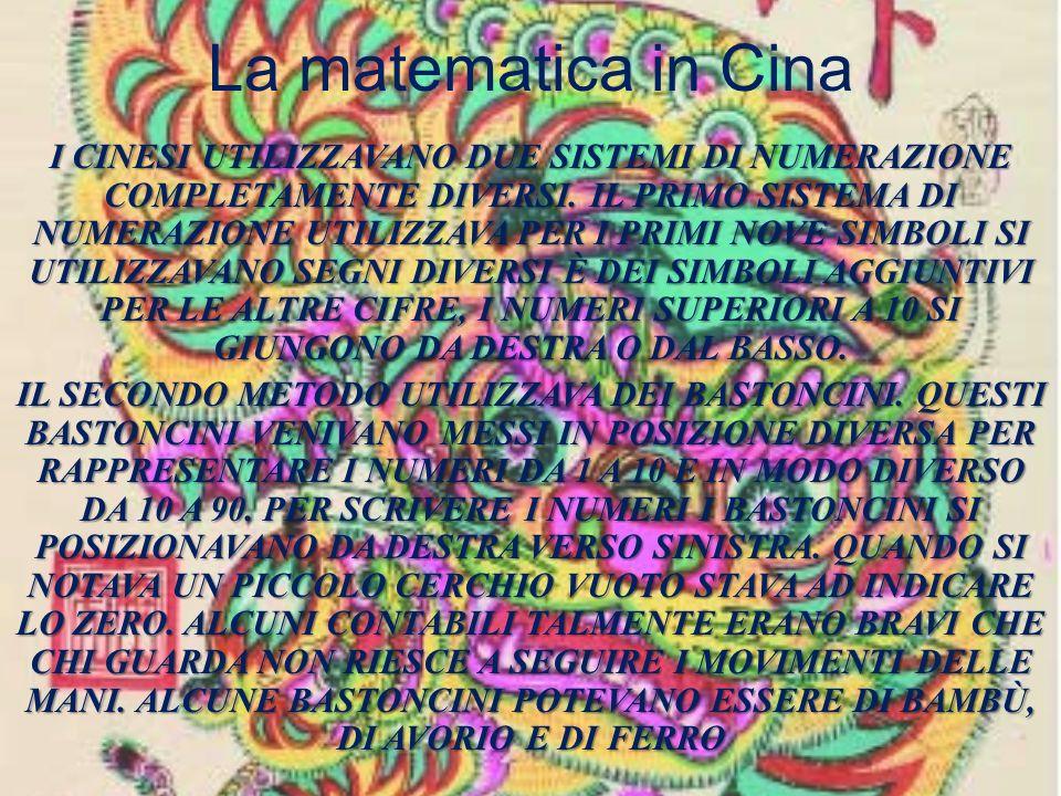 La matematica in Cina I CINESI UTILIZZAVANO DUE SISTEMI DI NUMERAZIONE COMPLETAMENTE DIVERSI. IL PRIMO SISTEMA DI NUMERAZIONE UTILIZZAVA PER I PRIMI N