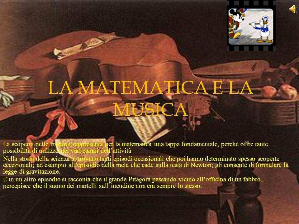 LA MATEMATICA E LA MUSICA La scoperta delle frazioni rappresenta per la matematica una tappa fondamentale, perché offre tante possibilità di utilizzo