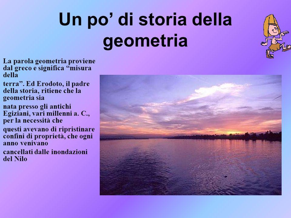 Un po di storia della geometria La parola geometria proviene dal greco e significa misura della terra. Ed Erodoto, il padre della storia, ritiene che
