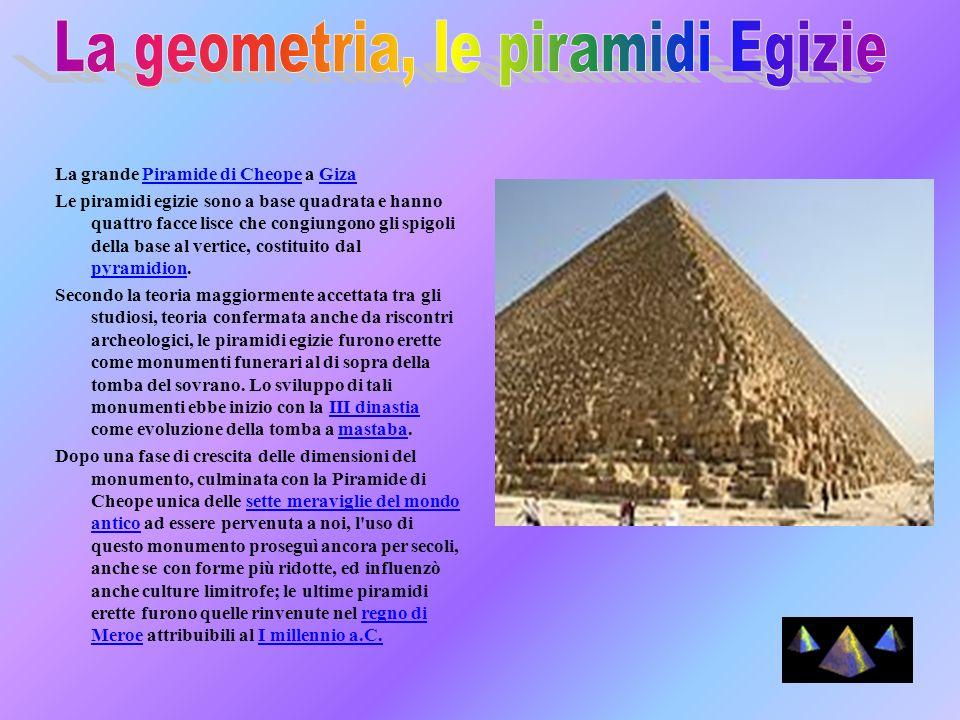 La grande Piramide di Cheope a GizaPiramide di CheopeGiza Le piramidi egizie sono a base quadrata e hanno quattro facce lisce che congiungono gli spig