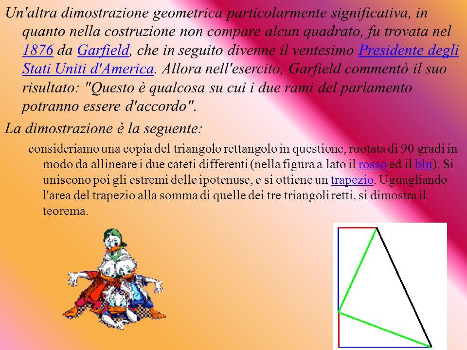 Un'altra dimostrazione geometrica particolarmente significativa, in quanto nella costruzione non compare alcun quadrato, fu trovata nel 1876 da Garfie