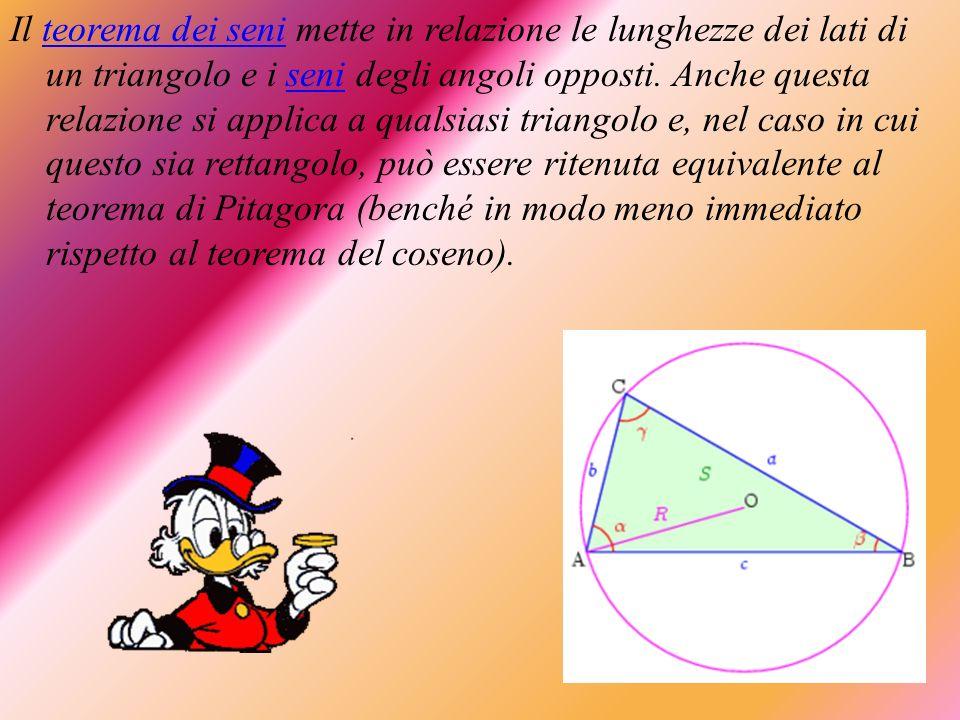 Il teorema dei seni mette in relazione le lunghezze dei lati di un triangolo e i seni degli angoli opposti. Anche questa relazione si applica a qualsi