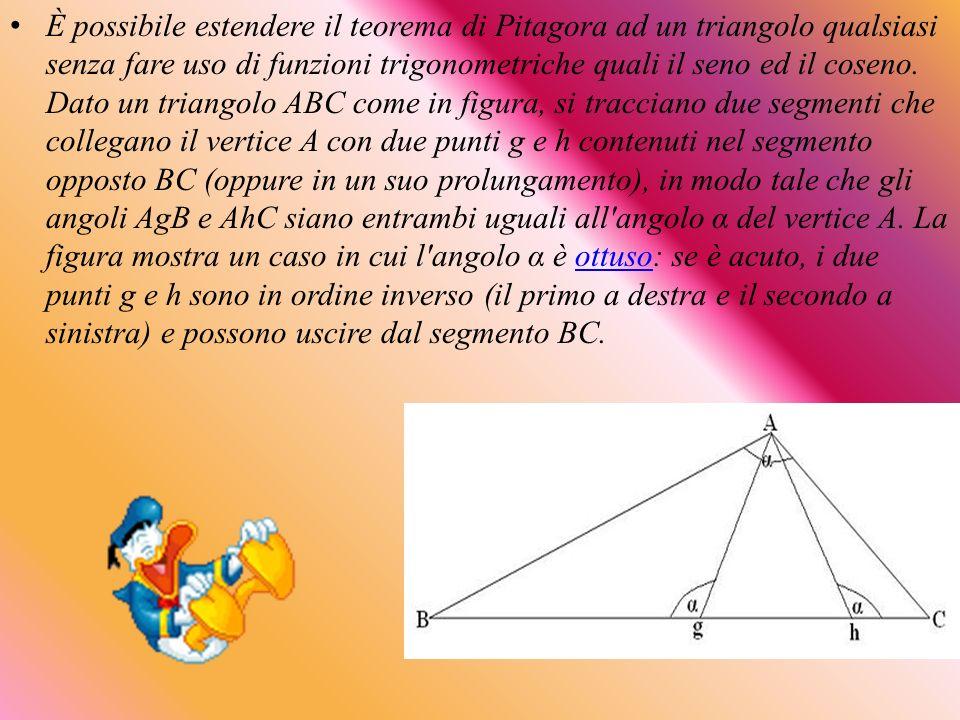 È possibile estendere il teorema di Pitagora ad un triangolo qualsiasi senza fare uso di funzioni trigonometriche quali il seno ed il coseno. Dato un