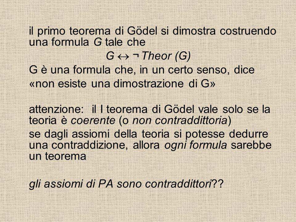il primo teorema di Gödel si dimostra costruendo una formula G tale che G ¬ Theor (G) G è una formula che, in un certo senso, dice «non esiste una dimostrazione di G» attenzione: il I teorema di Gödel vale solo se la teoria è coerente (o non contraddittoria) se dagli assiomi della teoria si potesse dedurre una contraddizione, allora ogni formula sarebbe un teorema gli assiomi di PA sono contraddittori??