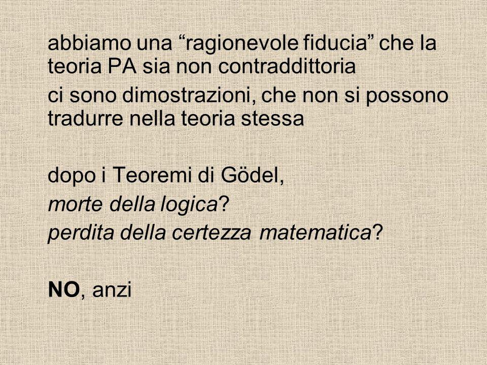 abbiamo una ragionevole fiducia che la teoria PA sia non contraddittoria ci sono dimostrazioni, che non si possono tradurre nella teoria stessa dopo i Teoremi di Gödel, morte della logica.