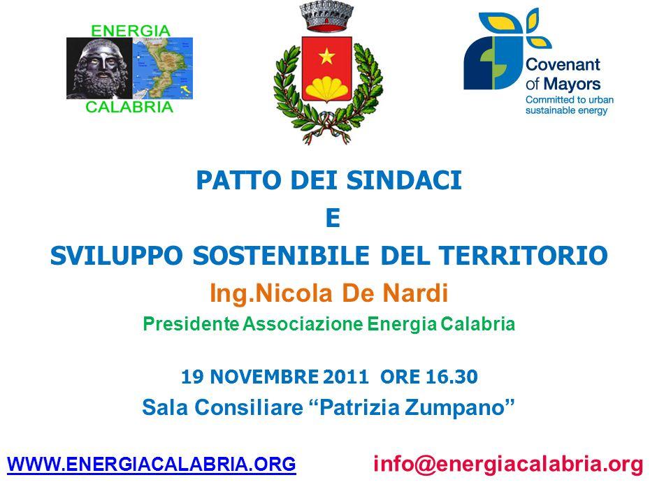 PATTO DEI SINDACI E SVILUPPO SOSTENIBILE DEL TERRITORIO Ing.Nicola De Nardi Presidente Associazione Energia Calabria 19 NOVEMBRE 2011 ORE 16.30 Sala C