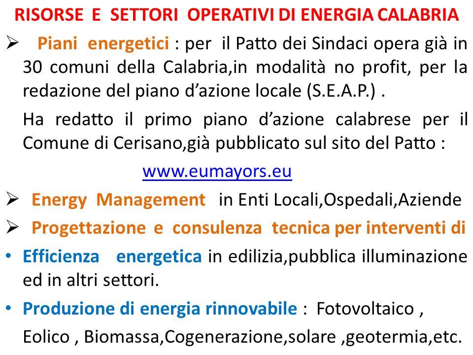 RISORSE E SETTORI OPERATIVI DI ENERGIA CALABRIA Piani energetici : per il Patto dei Sindaci opera già in 30 comuni della Calabria,in modalità no profit, per la redazione del piano dazione locale (S.E.A.P.).