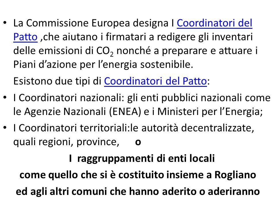 La Commissione Europea designa I Coordinatori del Patto,che aiutano i firmatari a redigere gli inventari delle emissioni di CO 2 nonché a preparare e