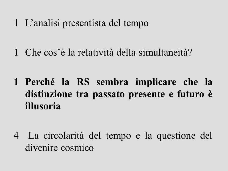 1Lanalisi presentista del tempo 1Che cosè la relatività della simultaneità.
