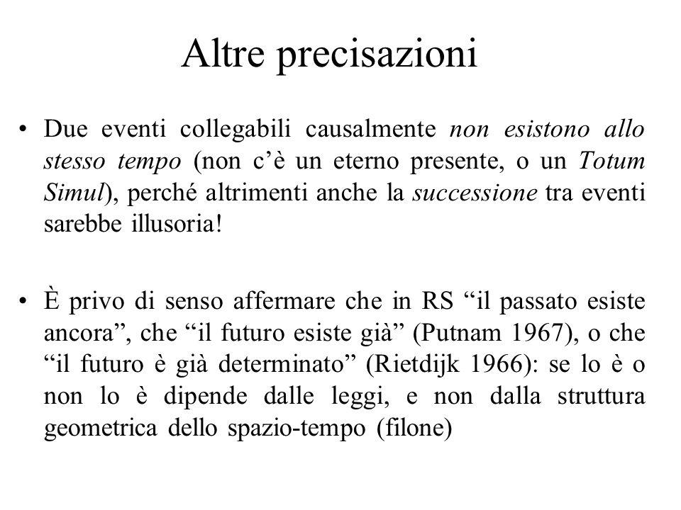 Altre precisazioni Due eventi collegabili causalmente non esistono allo stesso tempo (non cè un eterno presente, o un Totum Simul), perché altrimenti anche la successione tra eventi sarebbe illusoria.