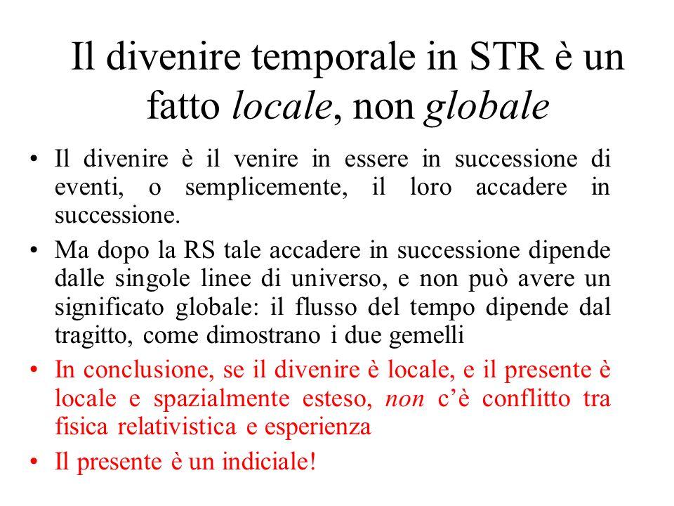 Il divenire temporale in STR è un fatto locale, non globale Il divenire è il venire in essere in successione di eventi, o semplicemente, il loro accadere in successione.