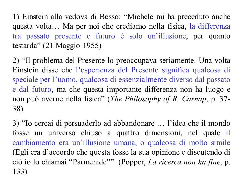 NB: nel filone, la successione temporale non è annullata: essa fornisce un ordine invariante, anche se parziale Fette a tempo costante, che per Newton coincidono Il presente.