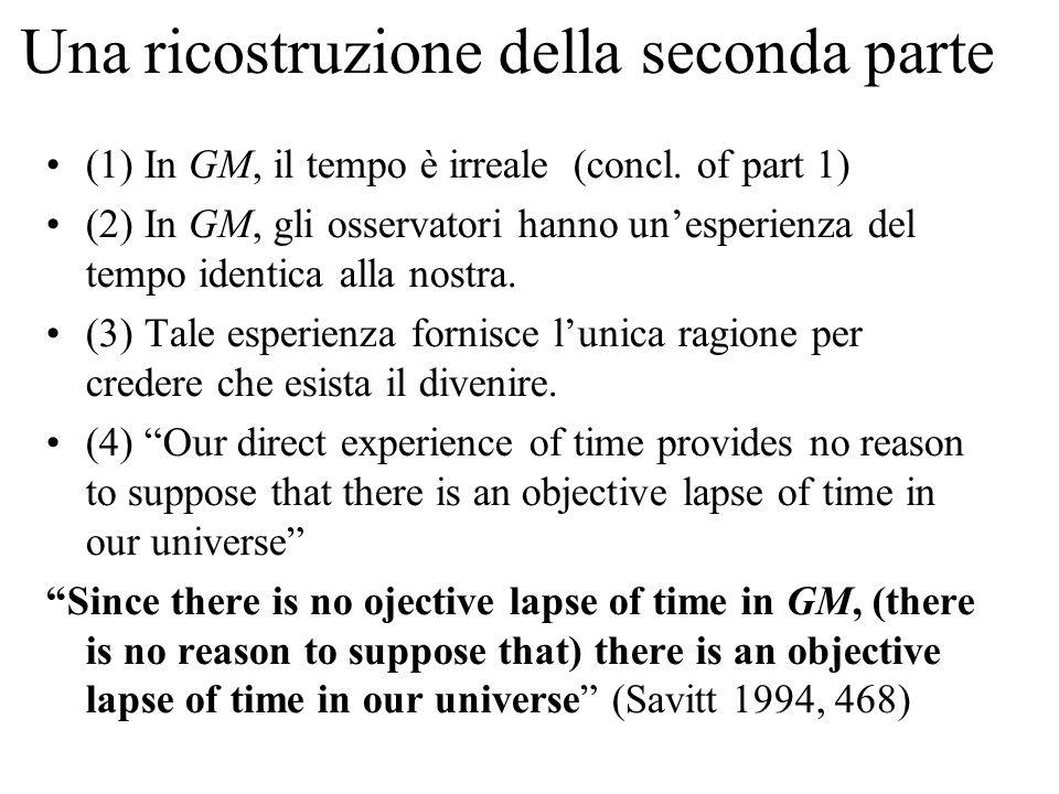 Una ricostruzione della seconda parte (1) In GM, il tempo è irreale (concl.