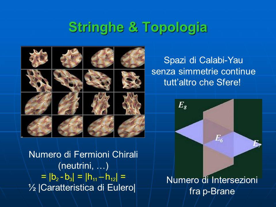 Stringhe & Topologia Spazi di Calabi-Yau senza simmetrie continue tuttaltro che Sfere! Numero di Fermioni Chirali (neutrini, …) = |b 2 - b 3 | = |h 11