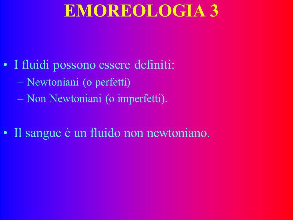 EMOREOLOGIA 2 In un fluido : –Lattrito interno tra le varie frazioni si definisce viscosità. Può essere definita come capacità di opporsi alla deforma