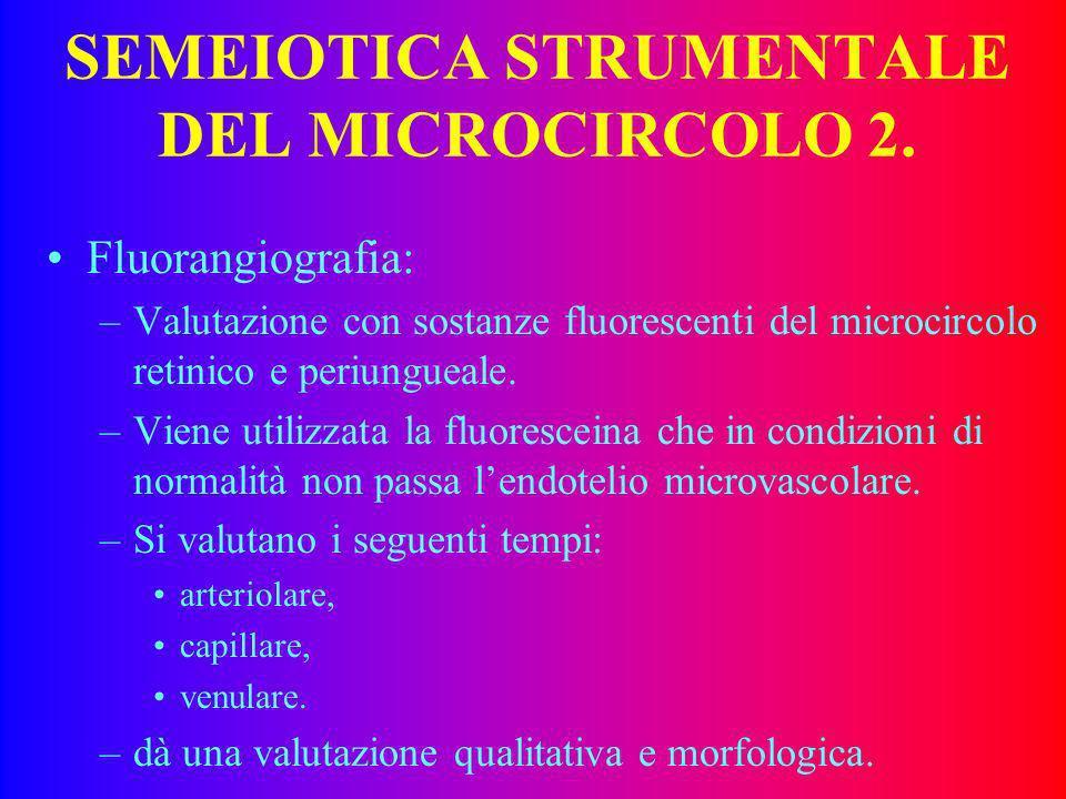 SEMEIOTICA STRUMENTALE DEL MICROCIRCOLO 1 Capillaroscopia. Fluorangiografia Laser-doppler. Ossimetria trancutanea. Ecocolordoppler ad alta definizione