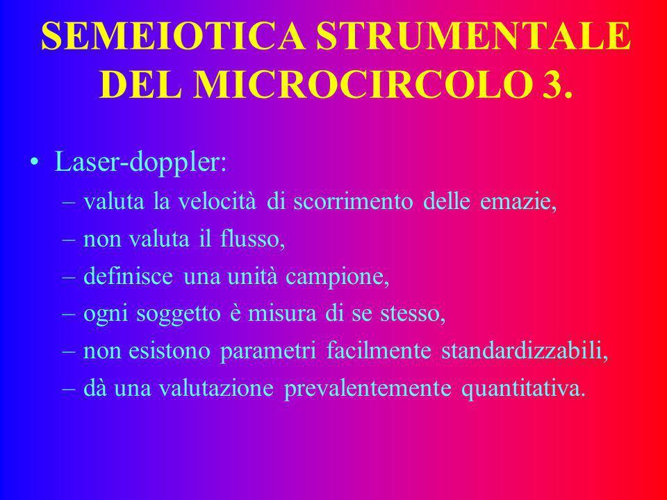 SEMEIOTICA STRUMENTALE DEL MICROCIRCOLO 2. Fluorangiografia: –Valutazione con sostanze fluorescenti del microcircolo retinico e periungueale. –Viene u