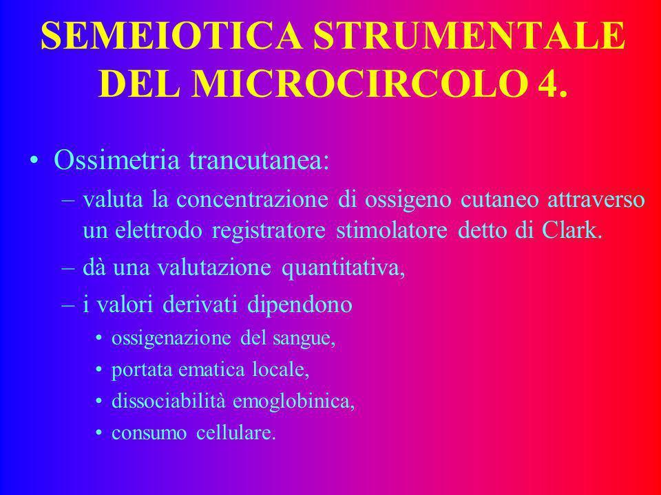 SEMEIOTICA STRUMENTALE DEL MICROCIRCOLO 3. Laser-doppler: –valuta la velocità di scorrimento delle emazie, –non valuta il flusso, –definisce una unità