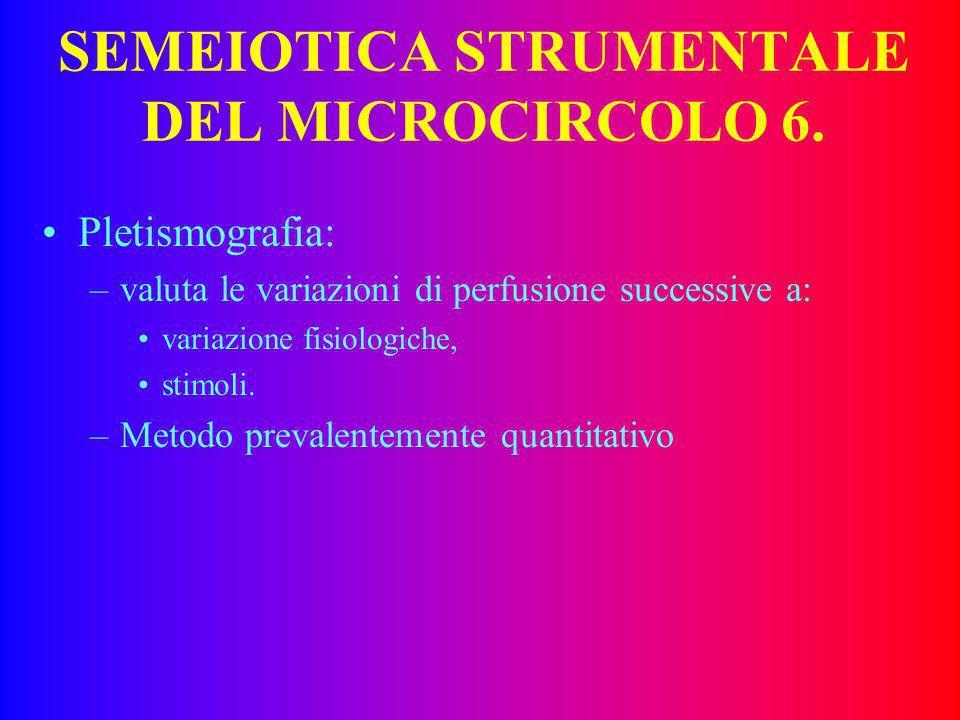 SEMEIOTICA STRUMENTALE DEL MICROCIRCOLO 5. Ecocolordoppler ad alta definizione: –metodica sperimentale, –valuta fino a livello delle anastomosi artero