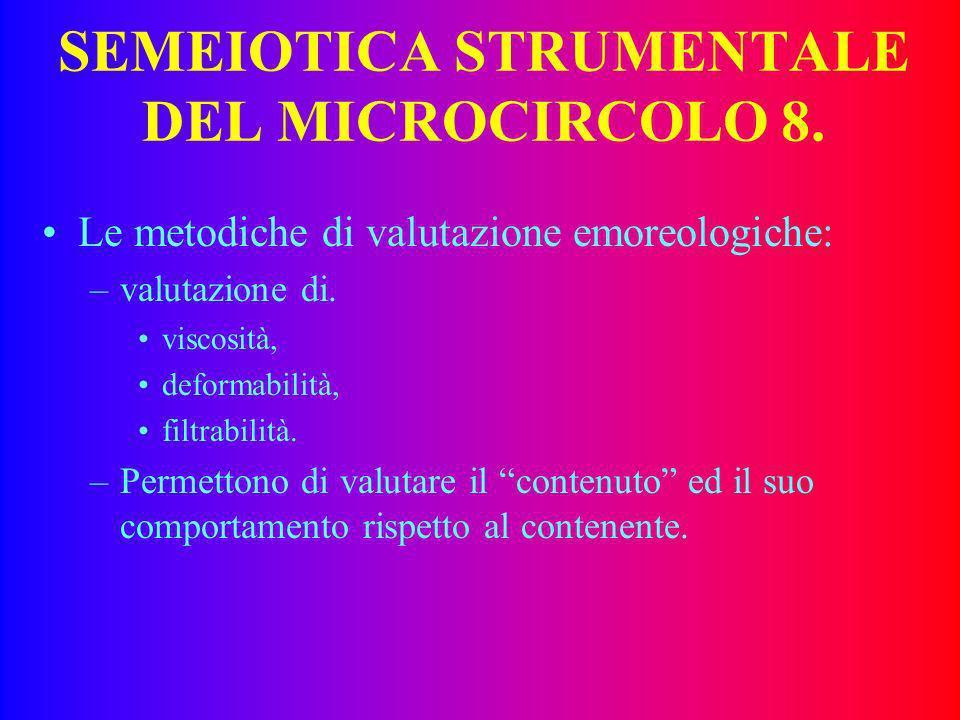 SEMEIOTICA STRUMENTALE DEL MICROCIRCOLO 7. Valutazione SSR: –studio neurofisiologico della fibra C, –valutazione della integrità tonomotrice periferic