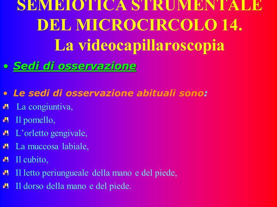 SEMEIOTICA STRUMENTALE DEL MICROCIRCOLO 13. La videocapillaroscopia Fattori positiviFattori positivi È una tecnica di indagine del microcircolo non in