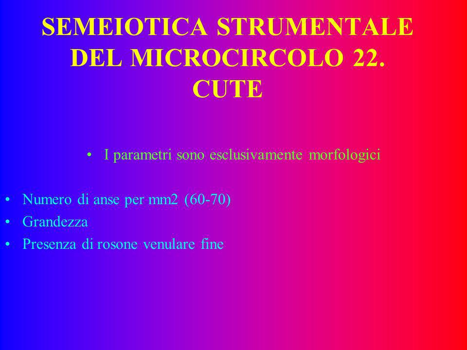 SEMEIOTICA STRUMENTALE DEL MICROCIRCOLO 21. POMELLO I parametri sono esclusivamente morfologici Colorito Rosso Cadmio Rapporto a/v (v.n.1:2) Reperti p