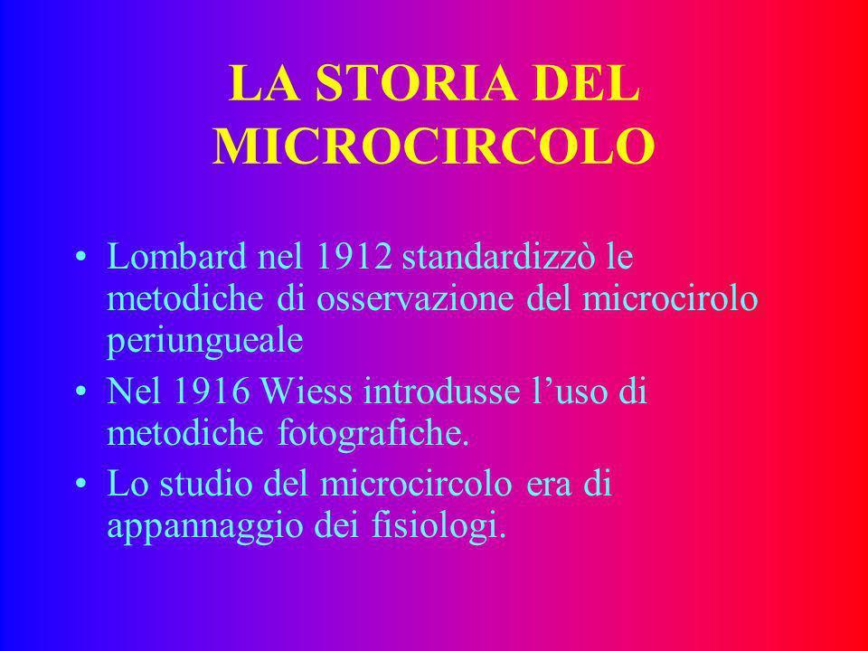 LA STORIA DEL MICROCIRCOLO Lombard nel 1912 standardizzò le metodiche di osservazione del microcirolo periungueale Nel 1916 Wiess introdusse luso di metodiche fotografiche.