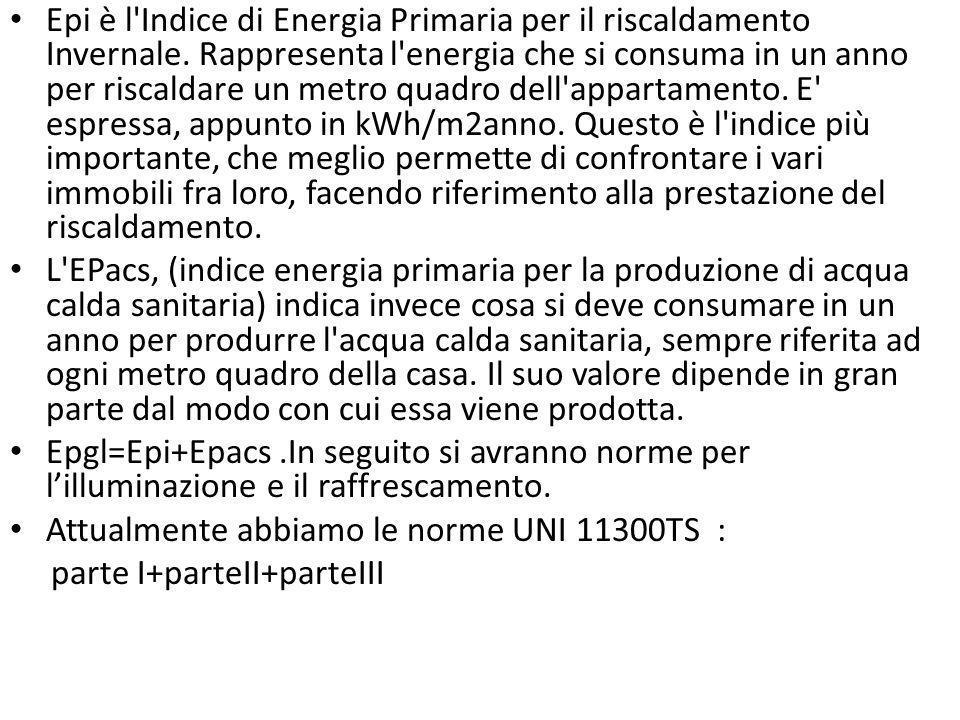 Epi è l'Indice di Energia Primaria per il riscaldamento Invernale. Rappresenta l'energia che si consuma in un anno per riscaldare un metro quadro dell